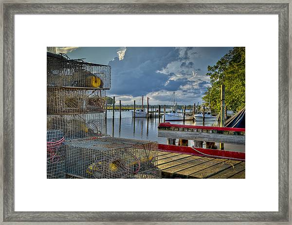 Framed Print featuring the photograph Crabpots And Fishing Boats by Williams-Cairns Photography LLC