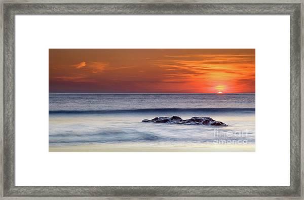 Crackington Haven Sunset, Cornwall, Uk Framed Print