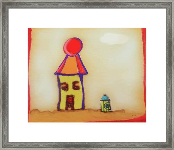 Cranky Clown Cabana And Fire Hydrant Framed Print