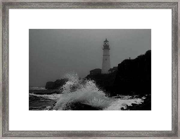 Crashing Waves On A Foggy Morning Framed Print