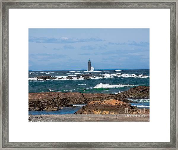 Crashing Waves On Minot Lighthouse  Framed Print