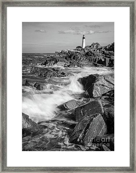 Crashing Waves, Portland Head Light, Cape Elizabeth, Maine  -5605 Framed Print