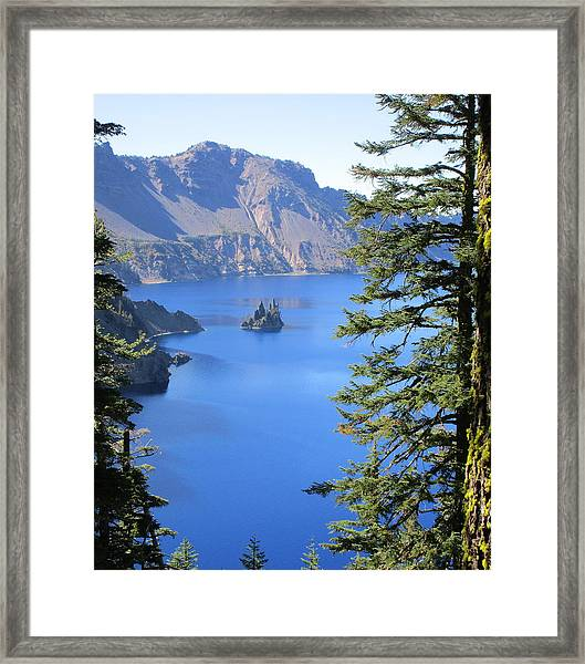 Crater Lake Ghost Ship Island Framed Print