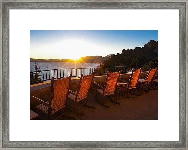 Crater Lake Lodge Porch Sunrise Framed Print