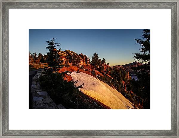 Crater Lake Lodge Sunrise Framed Print