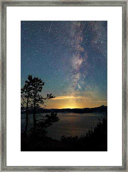 Crater Lake Milky Way Framed Print