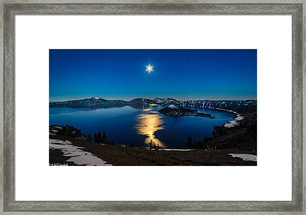 Crater Lake Moonlight Framed Print
