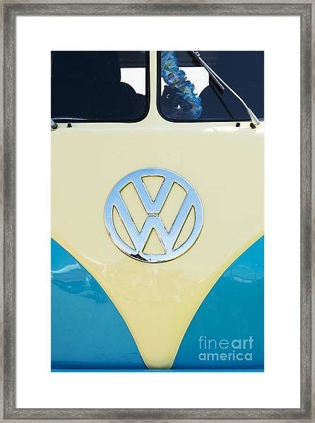 Cream And Blue  Framed Print