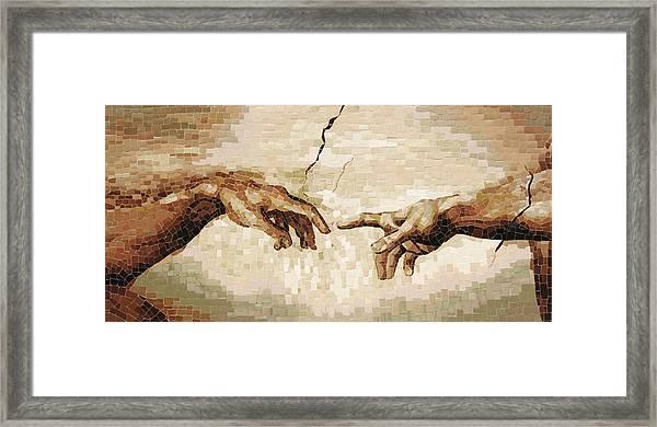 Creation Of Adam - Ceramic Mosaic Wall Artwork Framed Print