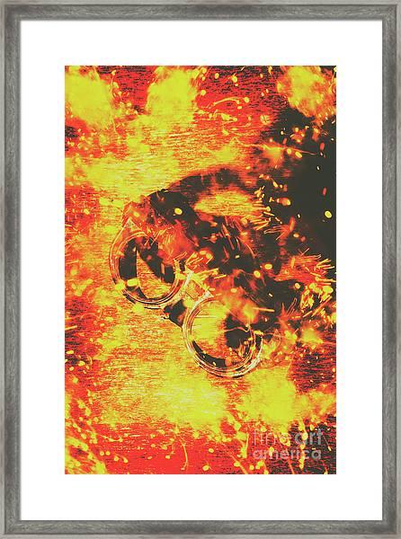 Creative Industrial Flames Framed Print