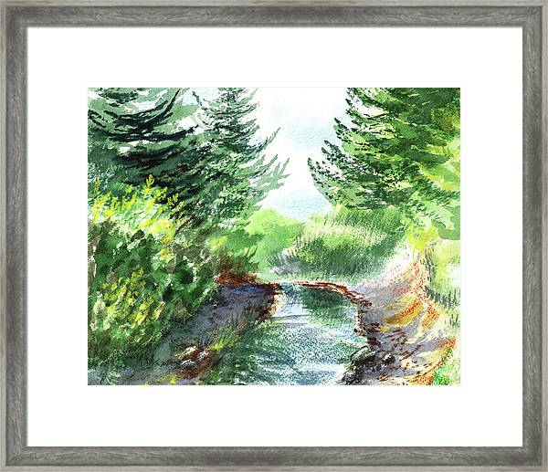 Creek In The Forest Watercolor Painting Framed Print
