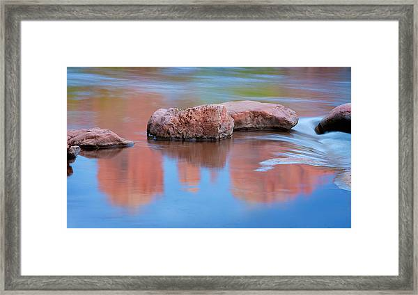 Creek Rocks With Cathedral Rock Reflection Framed Print