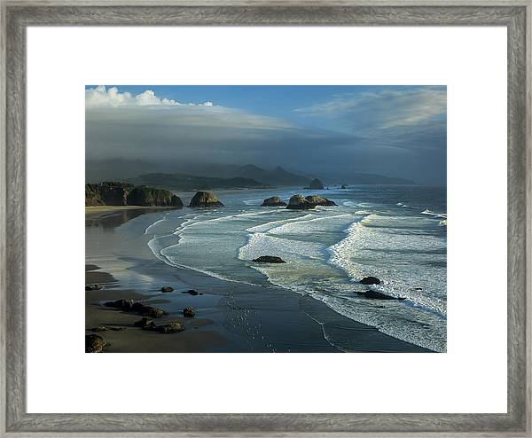 Crescent Beach And Surf Framed Print