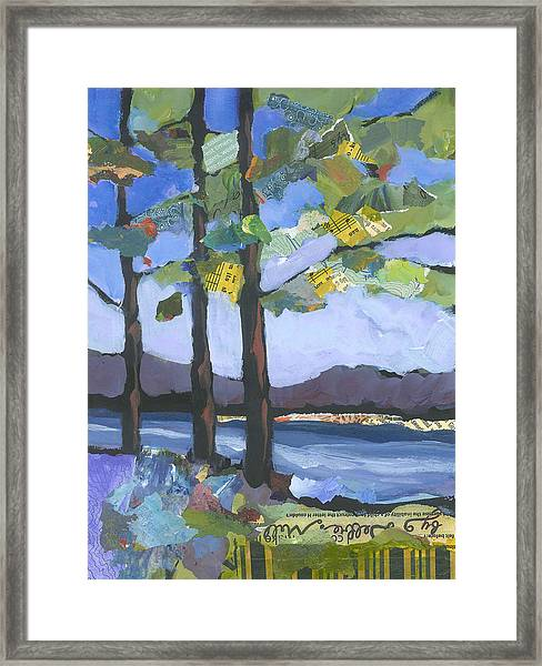 Framed Print featuring the painting Crescent Lake by Shelli Walters