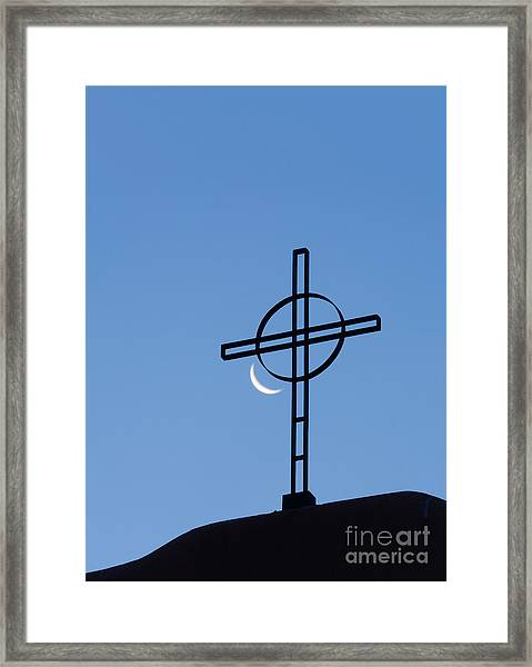 Crescent Moon And Cross Framed Print