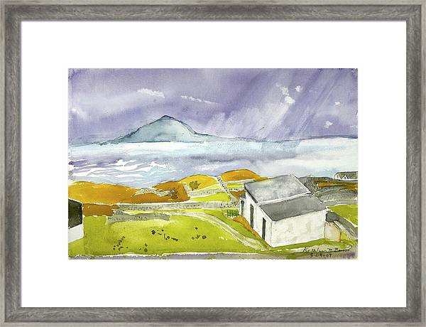 Croagh Patrick And Purple Sky Framed Print