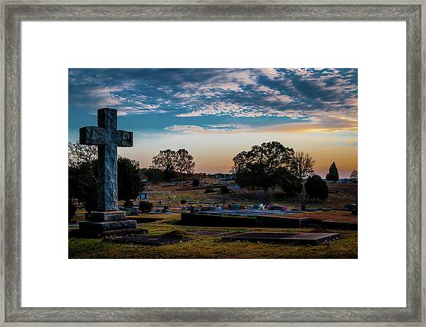 Cross At Sunset Framed Print