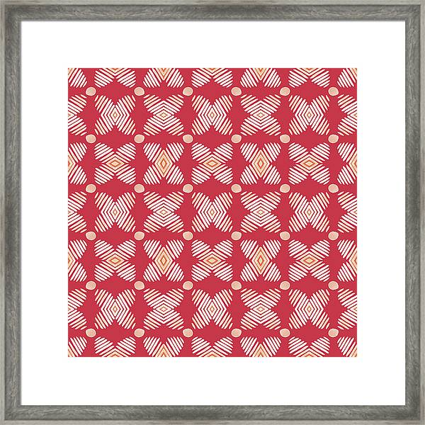 Cross Cross Diamonds Spice- Art By Linda Woods Framed Print