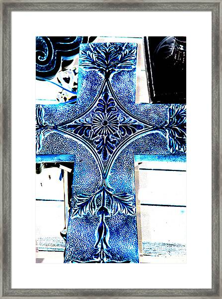 Cross In Blue Framed Print