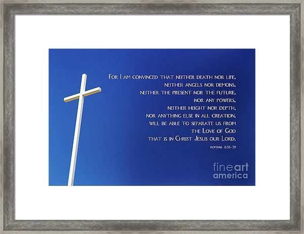 Cross With Blue Sky Framed Print