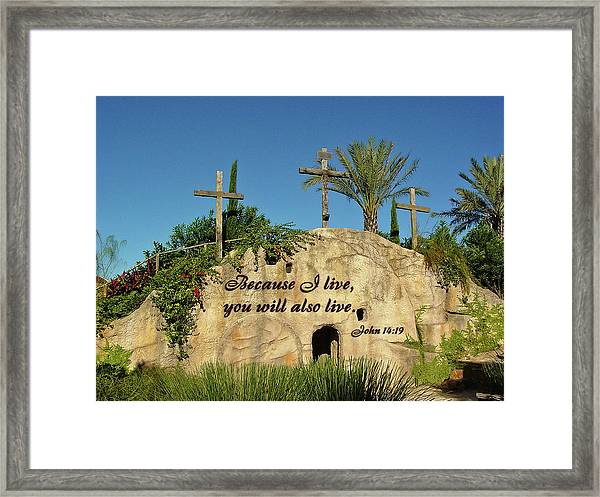 Crosses And Resurrection Framed Print