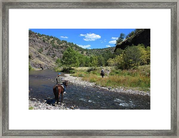 Crossing The Gila On Horseback Framed Print