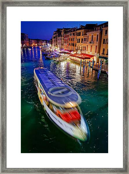 Vaporetto Crossing The Grand Canal At Night In Venice, Italy Framed Print