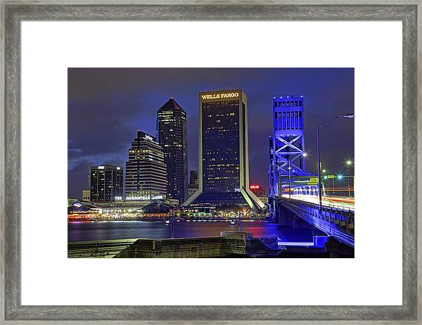 Crossing The Main Street Bridge - Jacksonville - Florida - Cityscape Framed Print