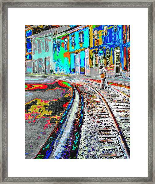 Crossing The Tracks Framed Print