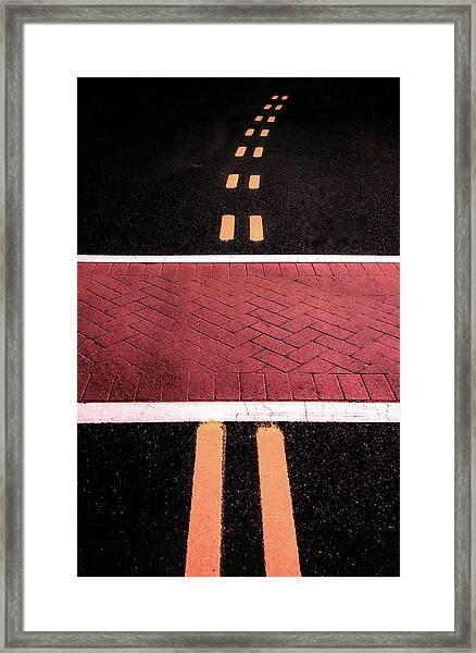 Crosswalk Conversion Of Traffic Lines Framed Print