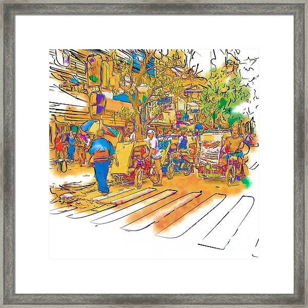 Crosswalk In The Philippines Framed Print