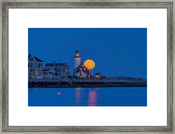Crow Moon Over Old Scituate Light Framed Print