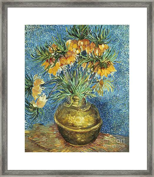 Crown Imperial Fritillaries In A Copper Vase Framed Print