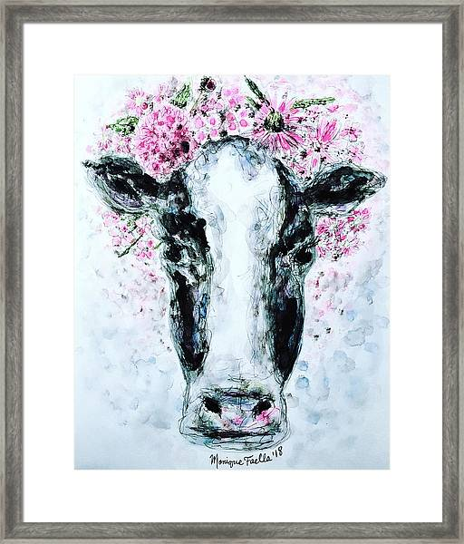 Crown Of Flowers Cow Framed Print