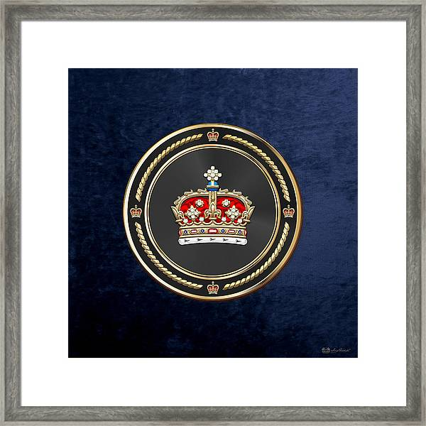 Crown Of Scotland Over Blue Velvet Framed Print