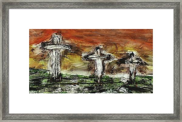 Framed Print featuring the painting Crucifixion #2 by Michael Lucarelli