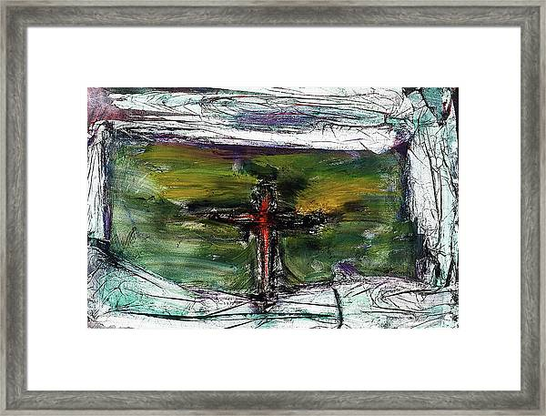 Framed Print featuring the painting Crucifixion #3 by Michael Lucarelli