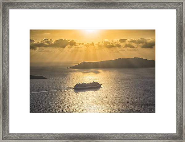 Cruise Ship In Greece Framed Print