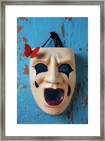 Crying Mask And Red Butterfly Framed Print