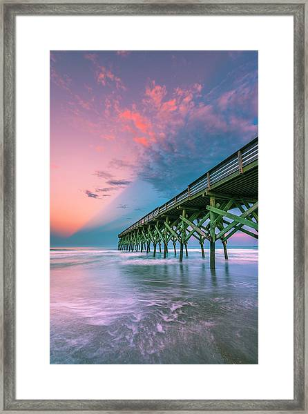 Framed Print featuring the photograph Crystal Beach Pier Sunset In North Carolina by Ranjay Mitra
