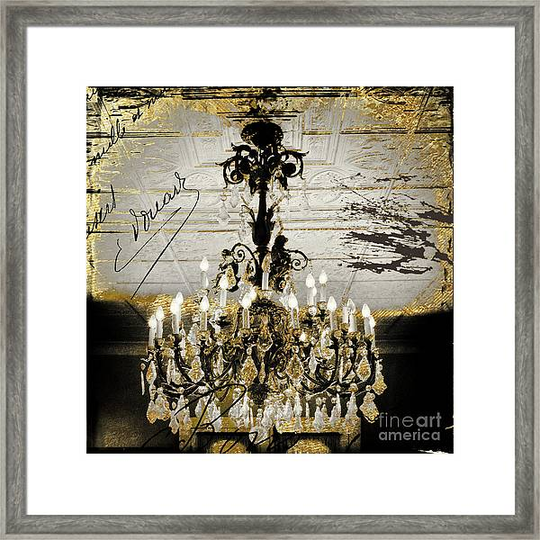 Crystal Chandelier Gold And Silver Framed Print