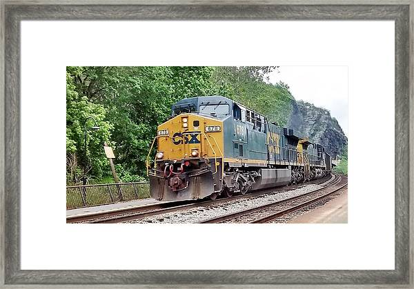Csx Ac60cw Leading Manifest Freight At Harper's Ferry Framed Print