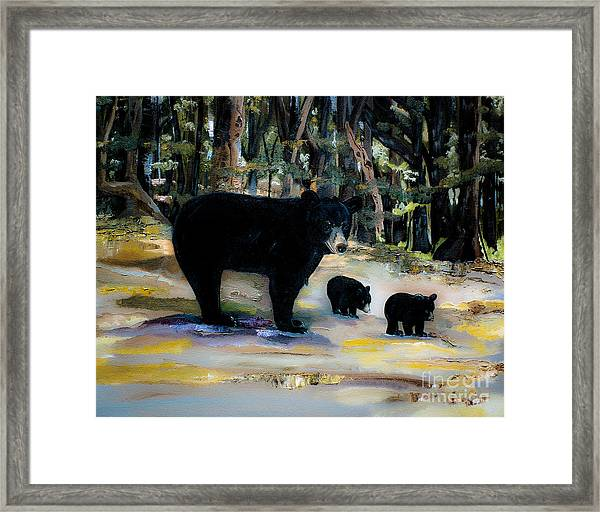 Cubs With Momma Bear - Dreamy Version - Black Bears Framed Print