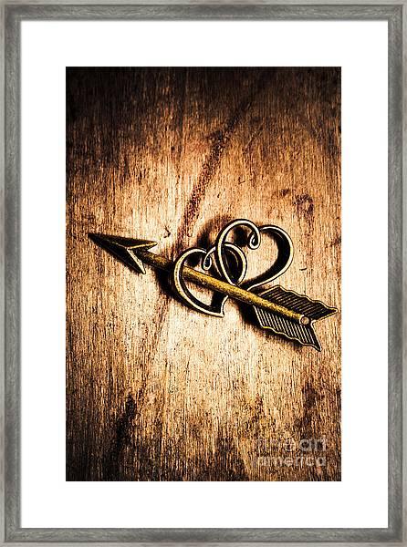 Cupid Arrow And Hearts Framed Print