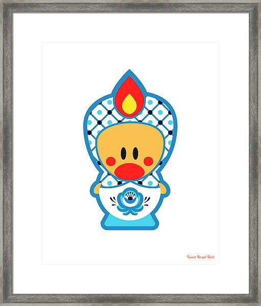 Cute Art - Blue And White Flower Folk Art Sweet Angel Bird Nesting Doll Wall Art Print Framed Print
