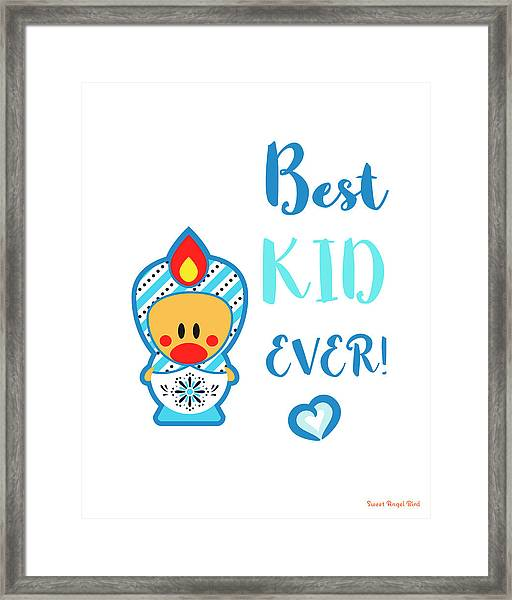Cute Art - Blue And White Folk Art Sweet Angel Bird In A Nesting Doll Costume Best Kid Ever Art Print Framed Print