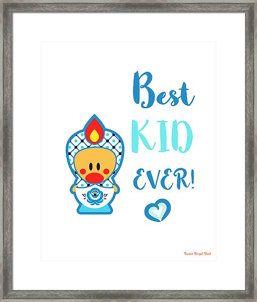 Cute Art - Blue And White Folk Art Sweet Angel Bird In A Nesting Doll Costume Best Kid Ever Wall Art Print Framed Print