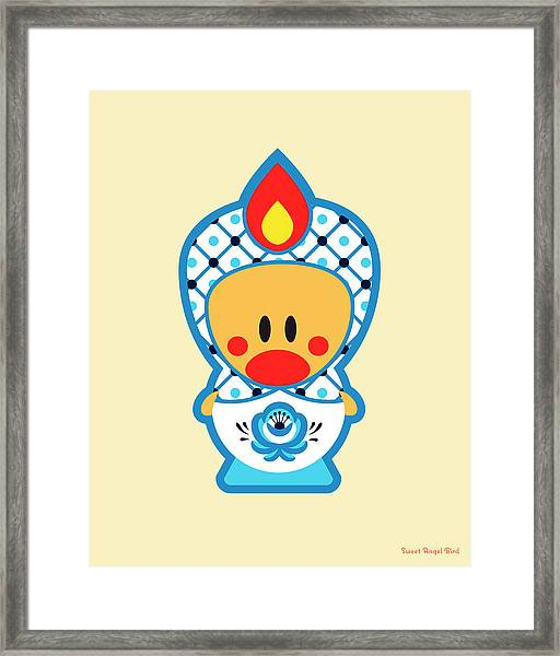 Cute Art - Blue And White Folk Art Sweet Angel Bird In A Nesting Doll Costume Wall Art Print Framed Print