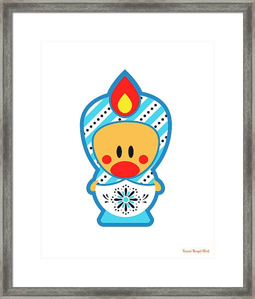 Cute Art - Blue And White Folk Art Sweet Angel Bird Nesting Doll Wall Art Print Framed Print