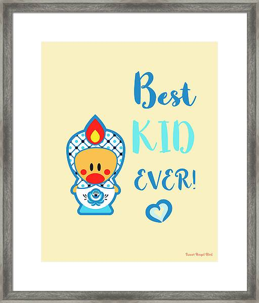 Cute Art - Blue, Beige And White Folk Art Sweet Angel Bird In A Nesting Doll Costume Best Kid Ever Wall Art Print Framed Print